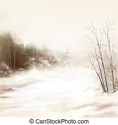 Winter river birds watercolor landscape in mist - Winter...