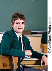 highschool teen - highschool boy in classroom