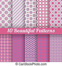 10 Beautiful vector seamless patterns tiling Pink, purple...