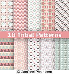 10 Tribal vector seamless patterns (tiling). Endless texture...