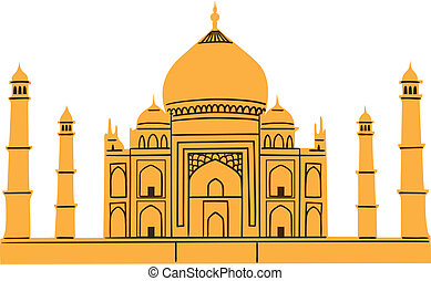 Taj Mahal isolated on white. - Summertime vacations and...