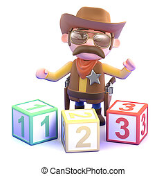 3d Cowboy sheriff learns to count - 3d render of a cowboy...