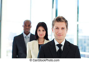 Young businessman leading his team