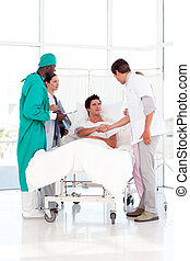 Medical team attending to a patient