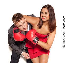 Boyfriend in headlock by playful girlfriend - Loving...