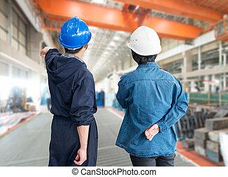 capacetes,  F, Trabalhadores, trabalho, construção, lugar, equipe