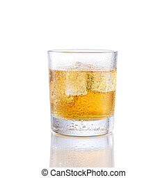 Energie drink whiskey on isolated white