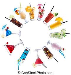 Cocktail Mix, paved circle on isolated white