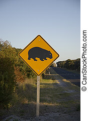 Wombat Sign - Sign at australian road, warning of wombats