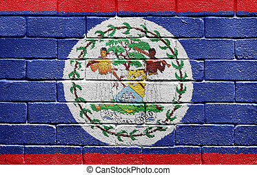 Flag of Belize on brick wall