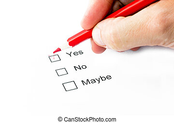 Yes or no or maybe choice - A hand doing selection with a...