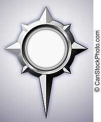 Steel Compass Rose with shadow - Steel detailed compass rose...