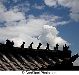 Traditional decoration of the roof contour of a Buddhist...