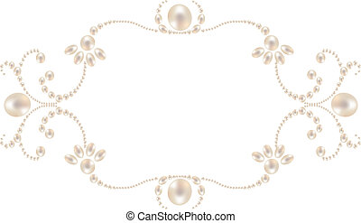 pearl frame - Beautiful pearl frame isolated on white...