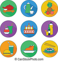 flat icons of food and drinks - vector illustration of flat...