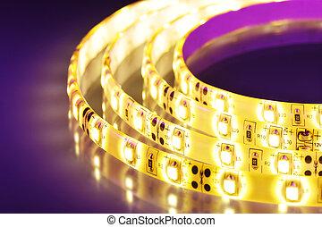 warmwhite LED-stripe - macro detail of a warmwhite...