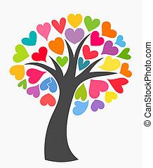 Tree with colorful hearts