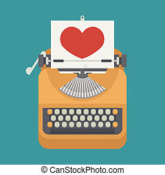 Vintage typewriter and red heart on paper sheet , eps10...