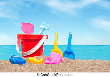 Beach toys - childrens beach toys isolated on white...