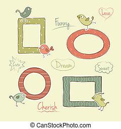 Vector frames with cartoon birds