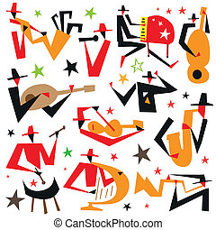 jazz musicians - vector icons in graphic style