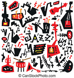 jazz instruments - doodles set - jazz instruments - vector...