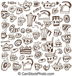 coffee cups doodles - coffee, tea cups and sweets - doodles...