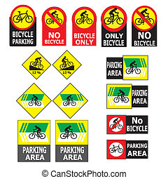 Set of Bicycle Sign Label
