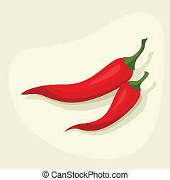 Stylized vector illustration of fresh ripe chili peppers