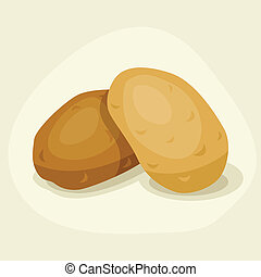 Stylized vector illustration of fresh ripe potatoes