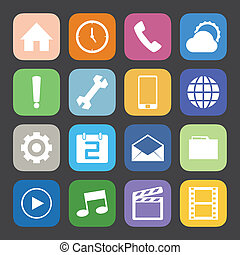 Flat Color style mobile phone icons vector set