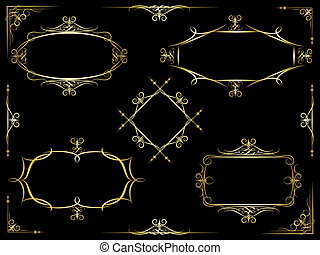 Vector decorative ornate frames - Set of five different...