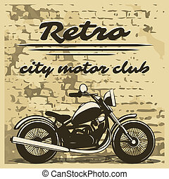 Motorcycle design on distressed background - Classic...