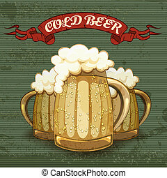 Retro style poster for Cold Beer with three tankards or mugs...