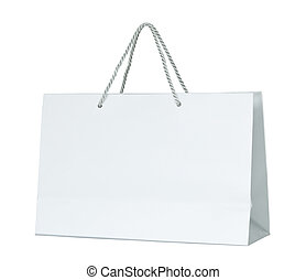 White paper shopping bag isolated on white with clipping...
