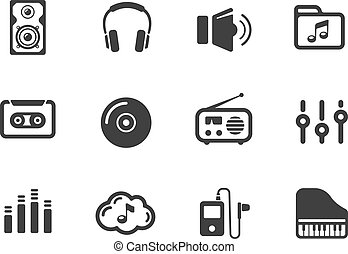 Several music themed icons on white background
