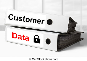 office binders customer data security - stack of two white...