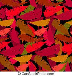 Grunge autumn pattern with fern leafs