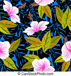 Tropical pattern with hibiscus flowers - Vector seamless...