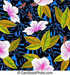 tropical, patrón, flores, Hibisco