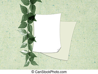 Two sheets of a paper with a branch on a gentle - green...