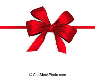 Red shiny bow with ribbon isolated on white background