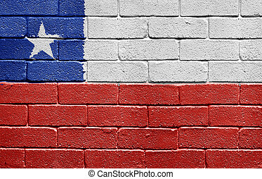 Flag of Chile on brick wall