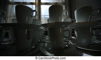 coffee cups - video footage of many coffee cups