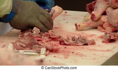 Chicken in a butcher shop - video footage of a...