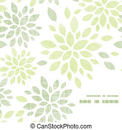 Fabric textured abstract leaves corner frame pattern...