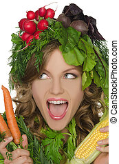 Young woman with vegetables shouts