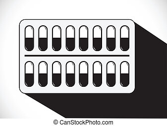 Pills and capsules icon set