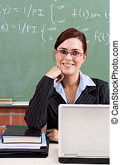 lovely principal - a pretty principal in classroom with...