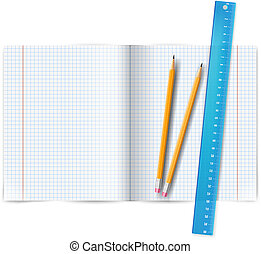Exercise book with ruler - Blank exercise math book with...